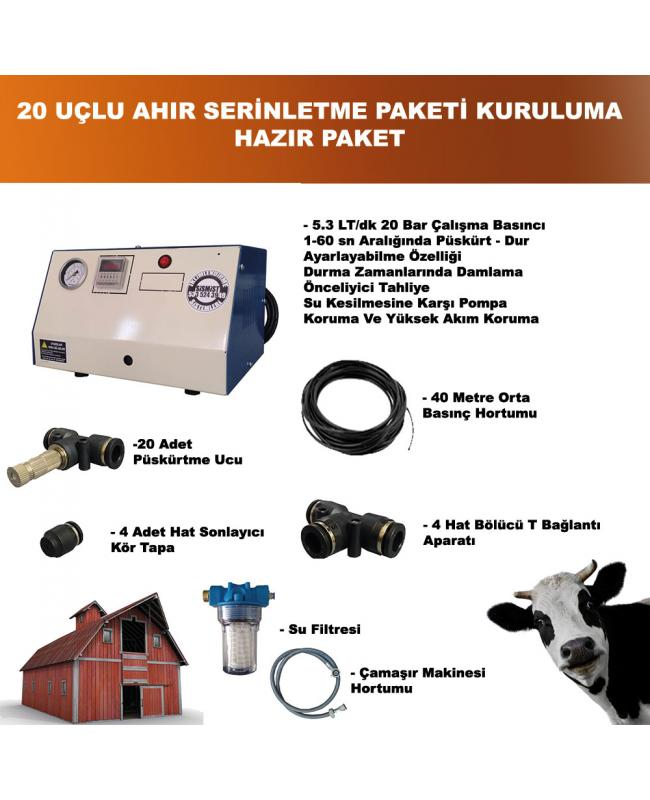 Ahır - Kümes - Büyük baş - Küçük Baş Hayvan Damı Serinletme Hazır Paketi - 30 adet Metal Nozul Orta Basınç