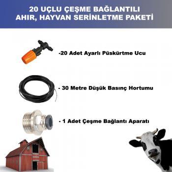 Hayvan Damı - Ahır Serinletme Ekonomik Hazır Paketi 20 Uç