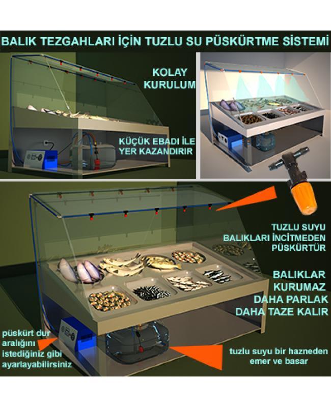Balık Tezgahı 24 Plastik Uçlu Tuzlu Su Püskürtme Sistemi Emme Basma No:MB12