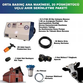 Ahır - Kümes - Ağıl Serinletme Hazır Paketi 20 adet Düşük Basınç plastik nozul