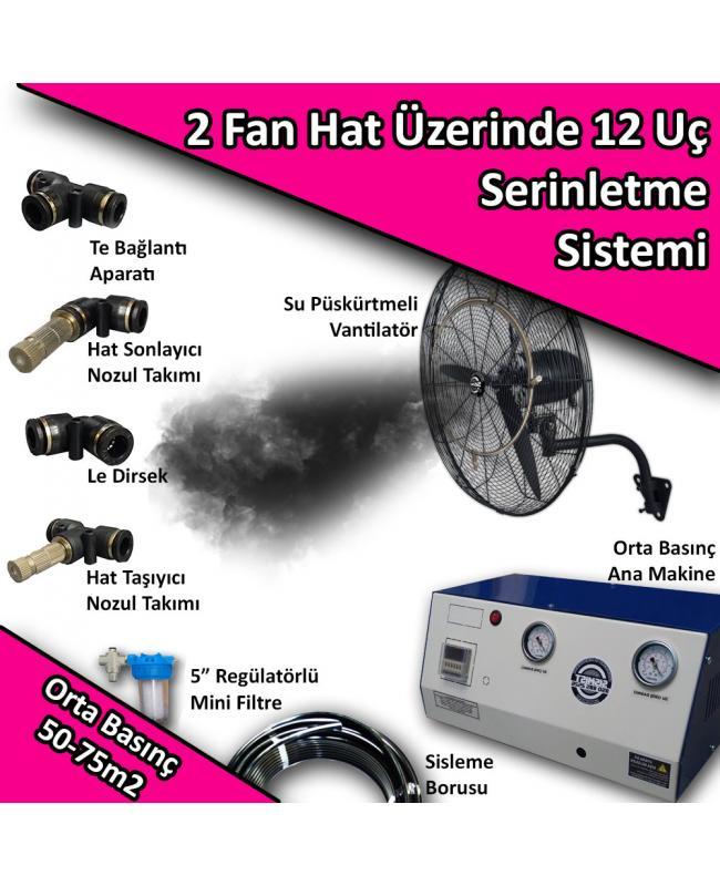 2 Fan 12 Uç Açık Alan Soğutma Serinletme Sistemi Orta Basınç 0-50m2 No:VS1