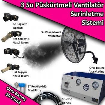 3 Fan Açık Alan Soğutma Serinletme Sistemi Orta Basınç 50-75m2 No:VS26