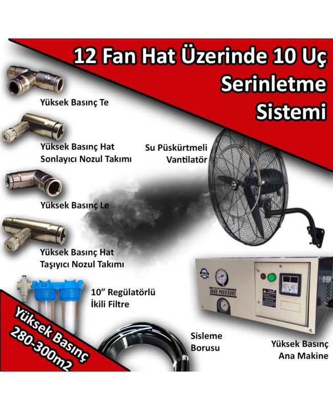 12 Fan 10 Uçlu Açık Alan Soğutma Serinletme Sistemi Yüksek Basınç 280-300m2 No:VS6