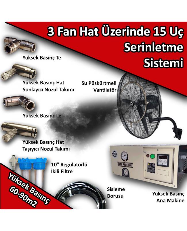 3 Fan 15 Uçlu Açık Alan Soğutma Serinletme Sistemi Yüksek Basınç 60-90m2 No:VS13