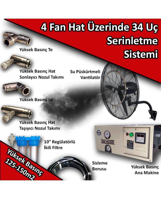4 Fan 34 Uçlu Açık Alan Soğutma Serinletme Sistemi Yüksek Basınç 125-150m2 No:VS16