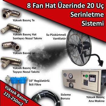 8 Fan 20 Uçlu Açık Alan Soğutma Serinletme Sistemi Yüksek Basınç 225-250m2 No:VS23