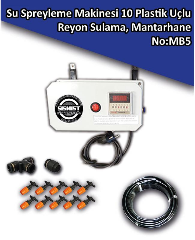Su Spreyleme Makinesi 10 Plastik Uçlu Manav Balık Reyonu Sulama, Mantarhane No:MB5
