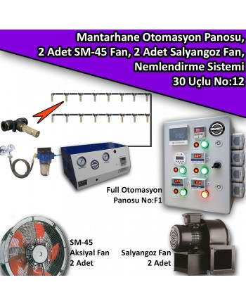 Mantarhane Otomasyon Panosu, 4 Adet Fan Ve 30 Uçlu Nemlendirme Sistemi Paket No:12