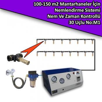 100-150 M2 Mantarhaneler İçin 30 Nozullu Nemlendirme Sistemi Nem Ve Zaman Kontrollü No:M1