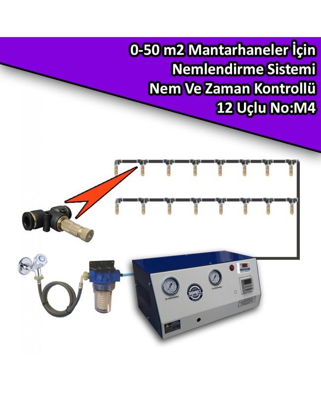 50 M2 Mantarhaneler İçin 12 Nozullu Nemlendirme Sistemi Nem Ve Zaman Kontrollü No:M4