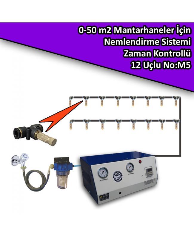 50 M2 Mantarhaneler İçin 12 Nozullu Nemlendirme Sistemi Zaman Kontrollü No:M5