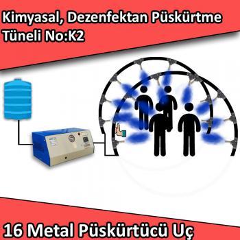 Dezenfektan, Kimyasal Kapı Girişi Püskürtme Tüneli 16 Metal Nozullu No:K2