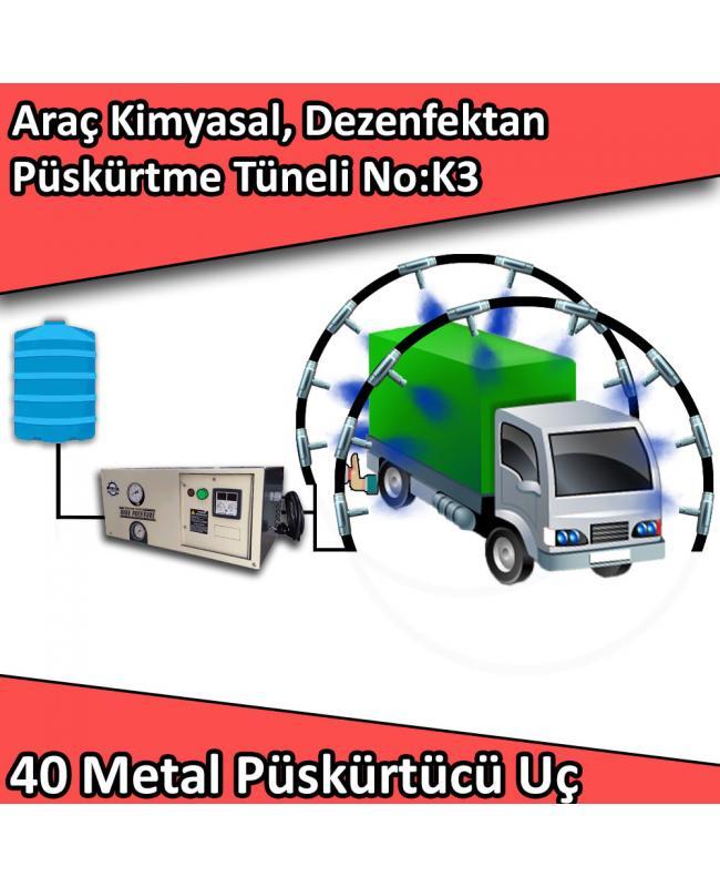 Dezenfektan, Kimyasal Araç Girişi Püskürtme Tüneli 40 Metal Nozullu No:K3