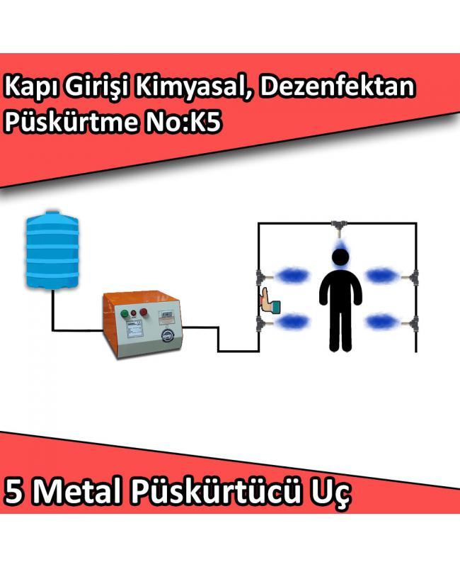 Dezenfektan, Kimyasal Kapı Girişi Püskürtme 5 Metal Nozullu No:K5