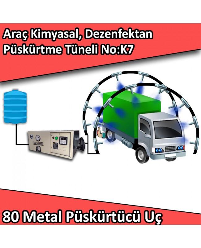 Dezenfektan, Kimyasal Araç Girişi Püskürtme Tüneli 80 Metal Nozullu No:K7